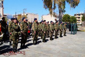 Σπάρτη Κενοτάφιο Λεωνίδα. Κατάθεση στεφάνων 25ης Μαρτίου.