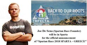Συνέντευξη Τύπου για τη διεξαγωγή Αγώνα Spartan Race 2018 θα πραγματοποιηθεί στη Σπάρτη.