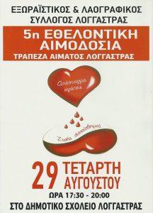 Εθελοντική αιμοδοσία στην Λογγάστρα Δ.Σπάρτης.