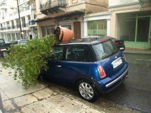 Ζημιές από τον κυκλώνα στη Σπάρτη και την ευρύτερη περιοχή.