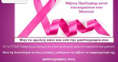 1η ΤΟΜΥ Σπάρτης – παραπεμπτικό μαστογραφίας χωρίς ραντεβού για τον Οκτώβριο