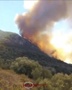 Εκκενώθηκαν χωριά στην περιοχή Λαγκαδά Δ. Αν. Μάνης λόγο της πυρκαγιάς