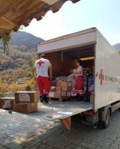Ο Ελληνικός Ερυθρός Σταυρός δίπλα στους πυρόπληκτους σε Μάνη και Γορτυνία